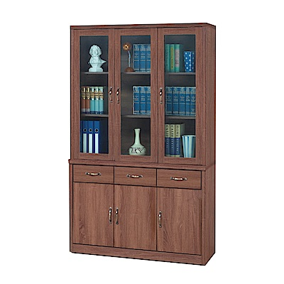 綠活居 明尼達4尺多功能書櫃/收納櫃組合(上+下座)-121x41x202cm-免組