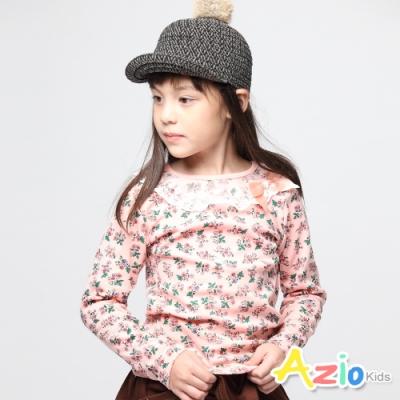 Azio Kids 女童 上衣 蕾絲領邊庭院花草長袖上衣 (粉)