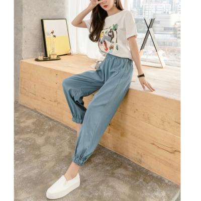 2F韓衣-簡約鬆緊繫帶舒適縮口褲-3色-(S-2XL)