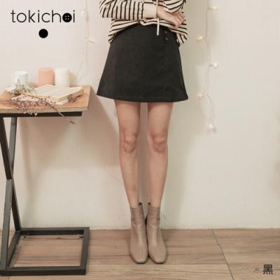 東京著衣 氣質二次方側排釦蜜桃絨A字短裙-M.L