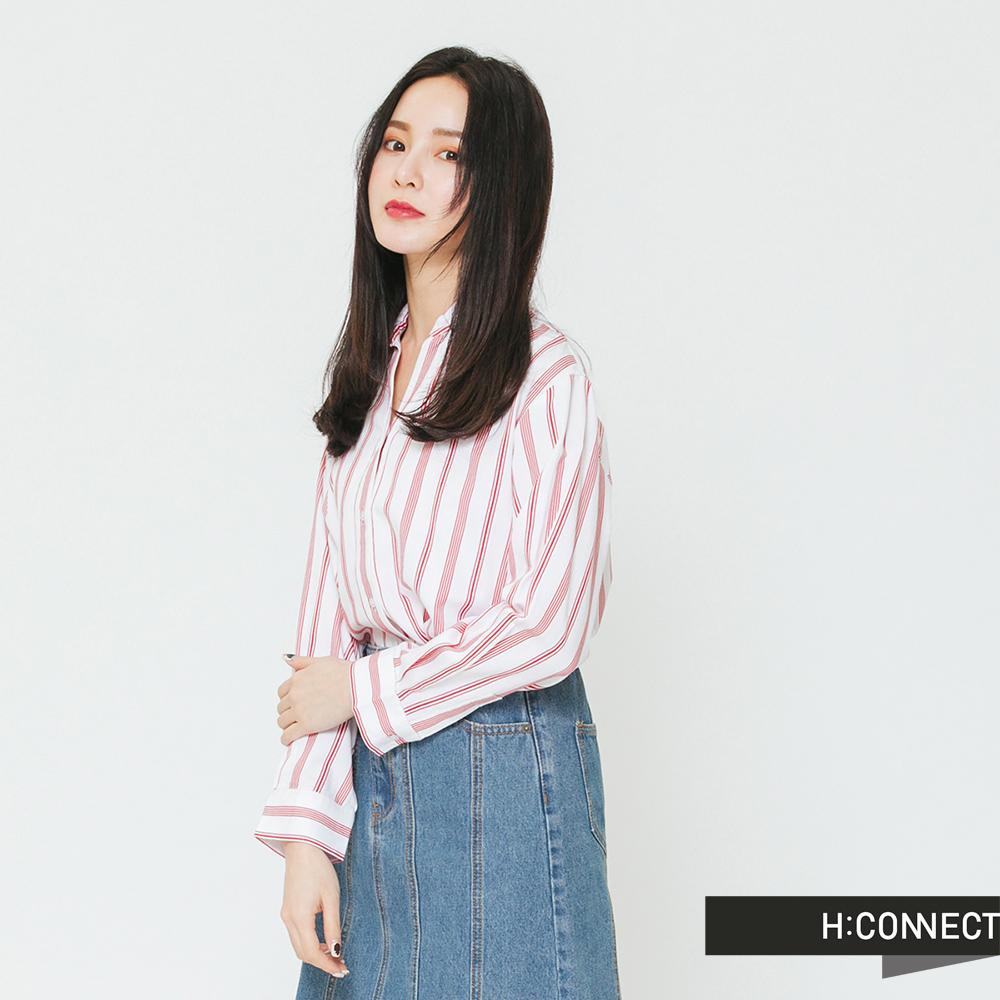 H:CONNECT 韓國品牌 女裝-清新配色直條紋襯衫-紅 @ Y!購物