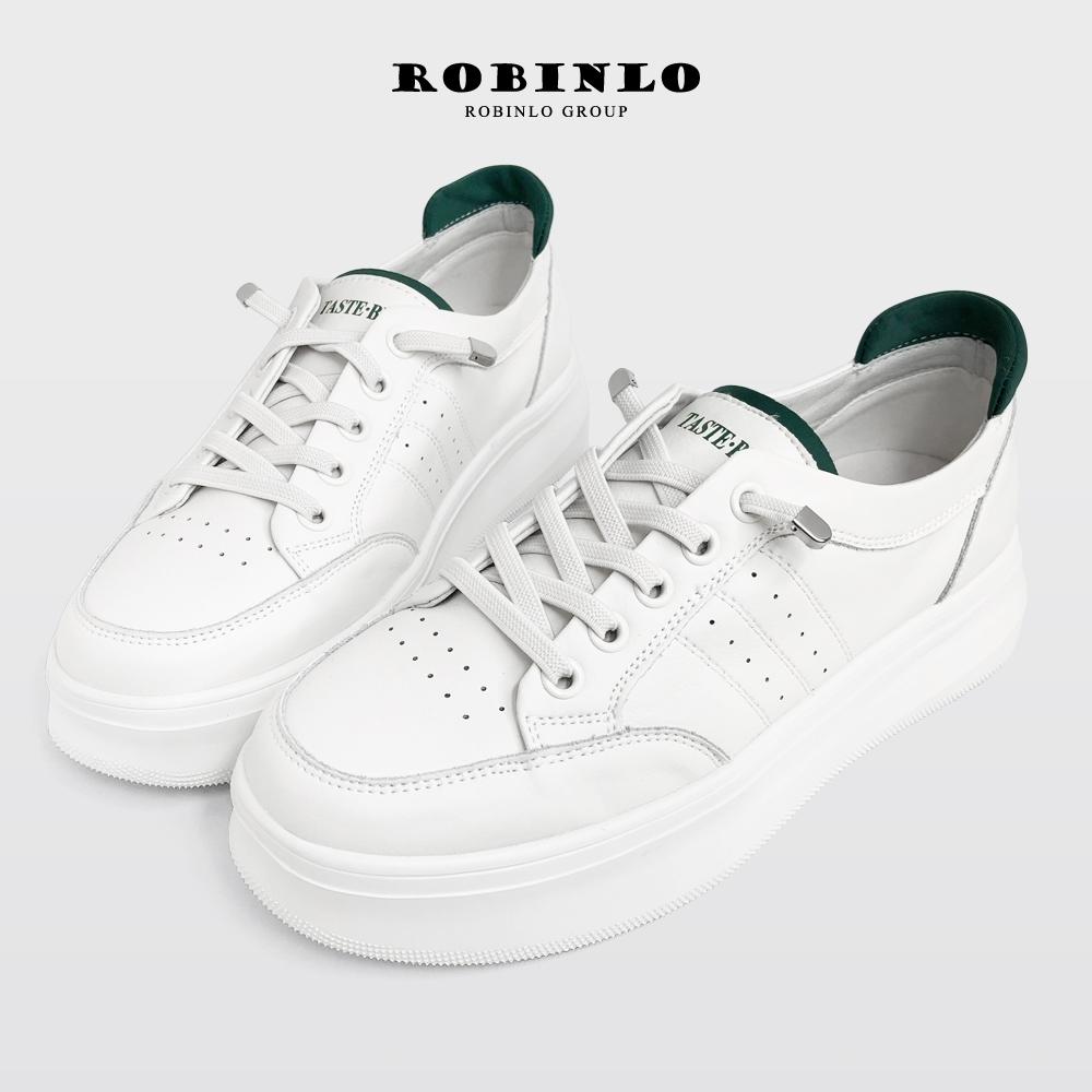 Robinlo免綁帶復古運動感牛皮休閒鞋小白鞋 白