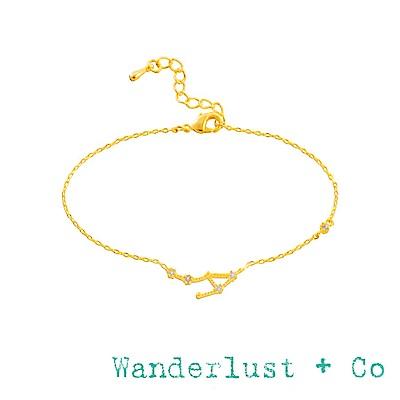 Wanderlust+Co 澳洲品牌 天秤座手鍊 金色鑲鑽手鍊 LIBRA
