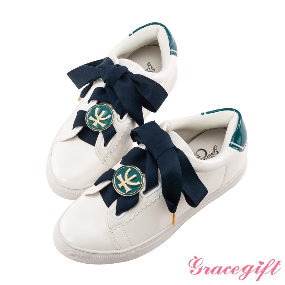 Grace gift-美少女戰士變身器緞帶休閒鞋 墨綠
