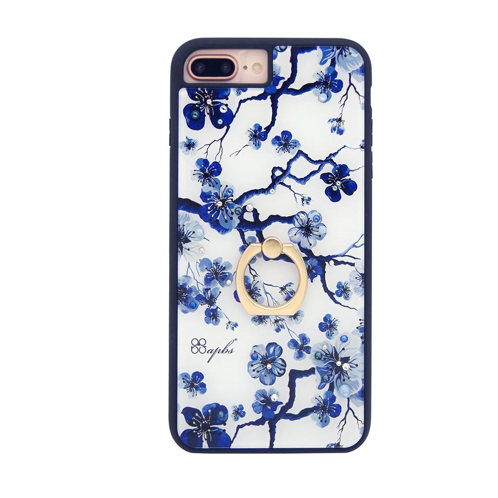 apbs iPhone8/7/6s/6 Plus 5.5吋施華彩鑽減震指環扣手機殼-藍梅