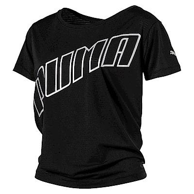 PUMA-女性慢跑系列Slogan短袖T恤-黑色-歐規