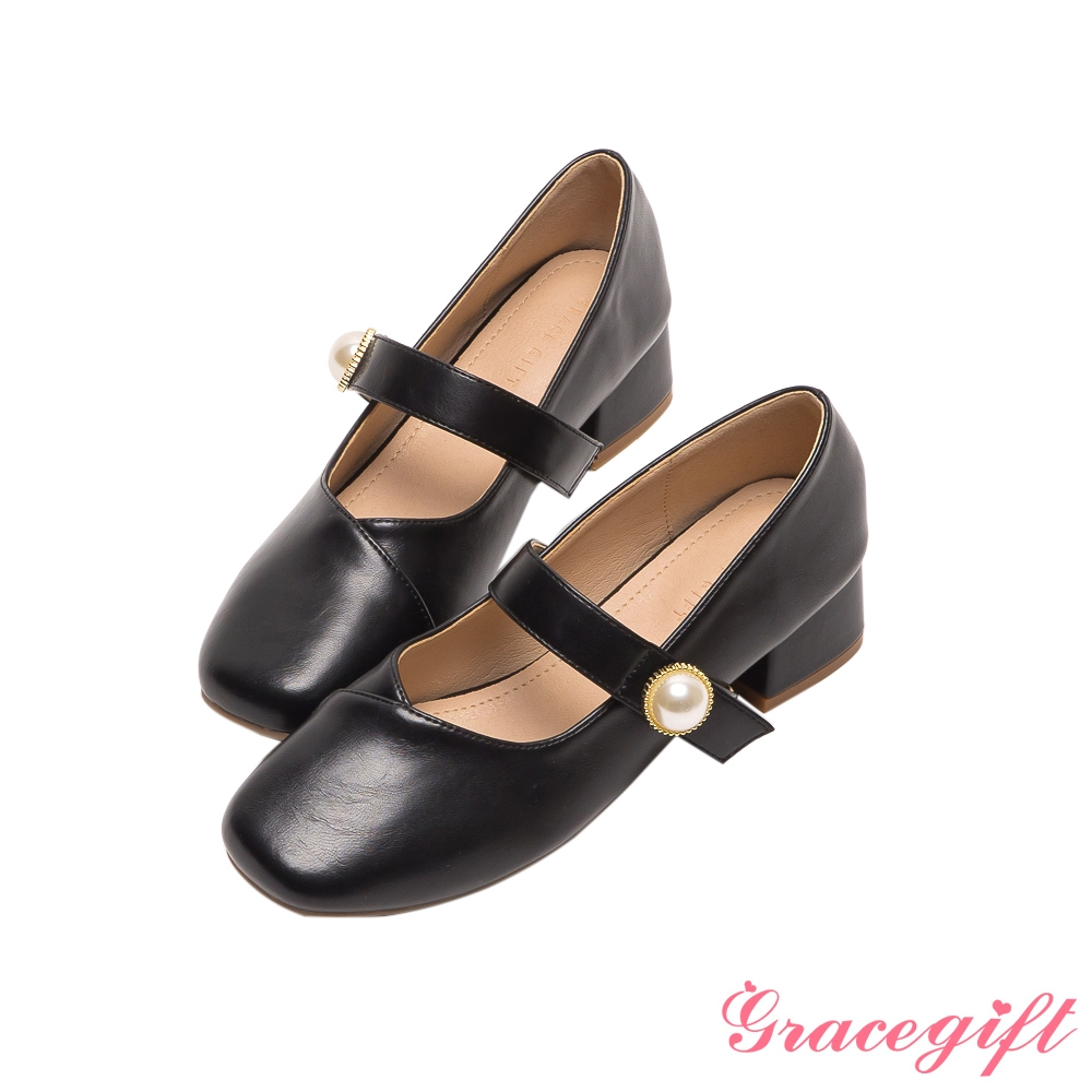 Grace gift-珍珠低跟瑪麗珍鞋 黑