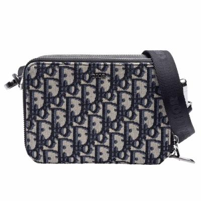 Dior 經典OBLIQUE緹花帆布小牛皮飾邊拉鍊手拿/斜背包(黑/米)