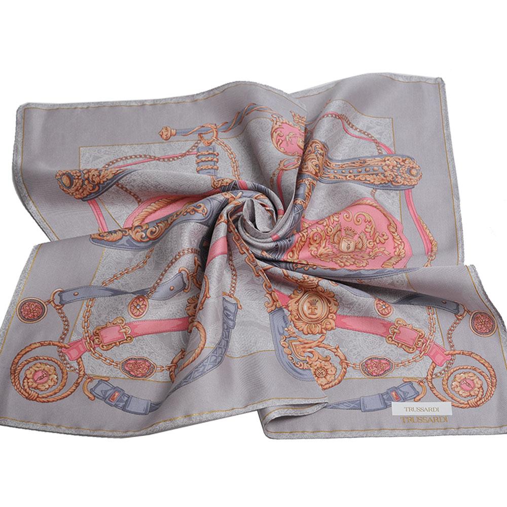 TRUSSARDI 經典品牌皮穿鍊圖騰LOGO絲質大帕領巾(灰色系) @ Y!購物