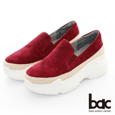 【bac】復古風潮 - 厚底麂皮多層厚底台休閒老爹鞋-紅