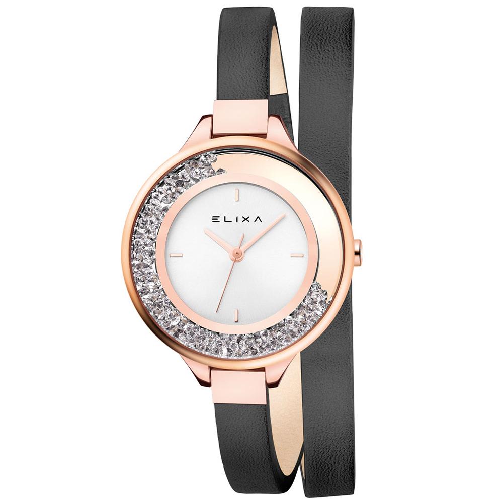 ELIXA Finesse系列簡約白晶鑽錶盤/皮革纏繞式錶帶34mm