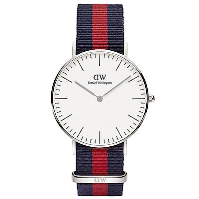 DW 手錶 36mm銀框 Classic 經典藍紅織紋錶