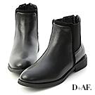 D+AF 獨特個性.拼接設計切爾西短靴*黑