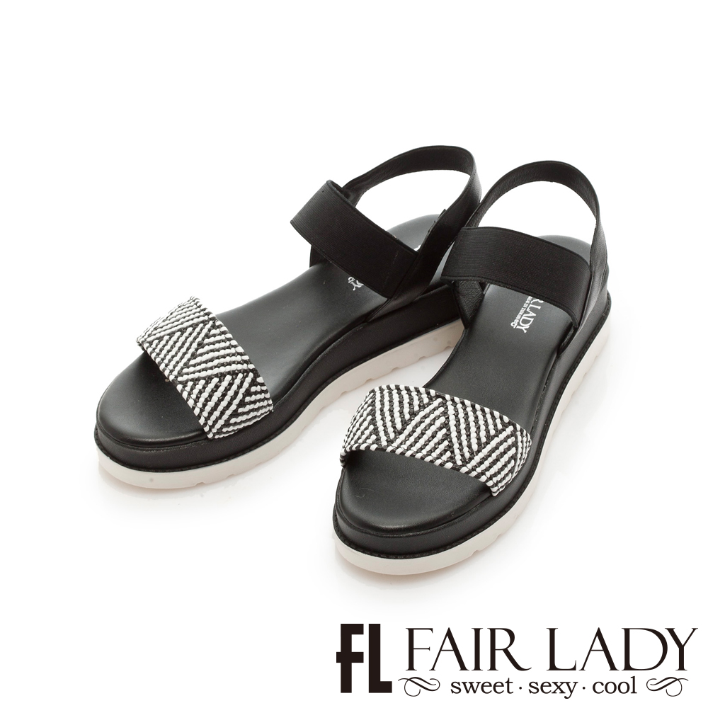 【FAIR LADY】幾何拼接一字厚底涼鞋 黑