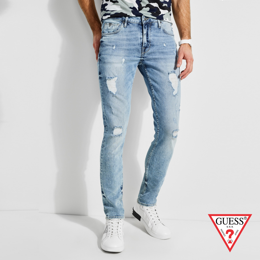 GUESS-男裝-刷破仿舊感牛仔褲-牛仔藍 原價3490