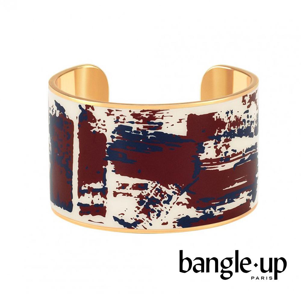 BANGLE UP 個性刷色琺瑯鍍金寬手環 -白紅藍