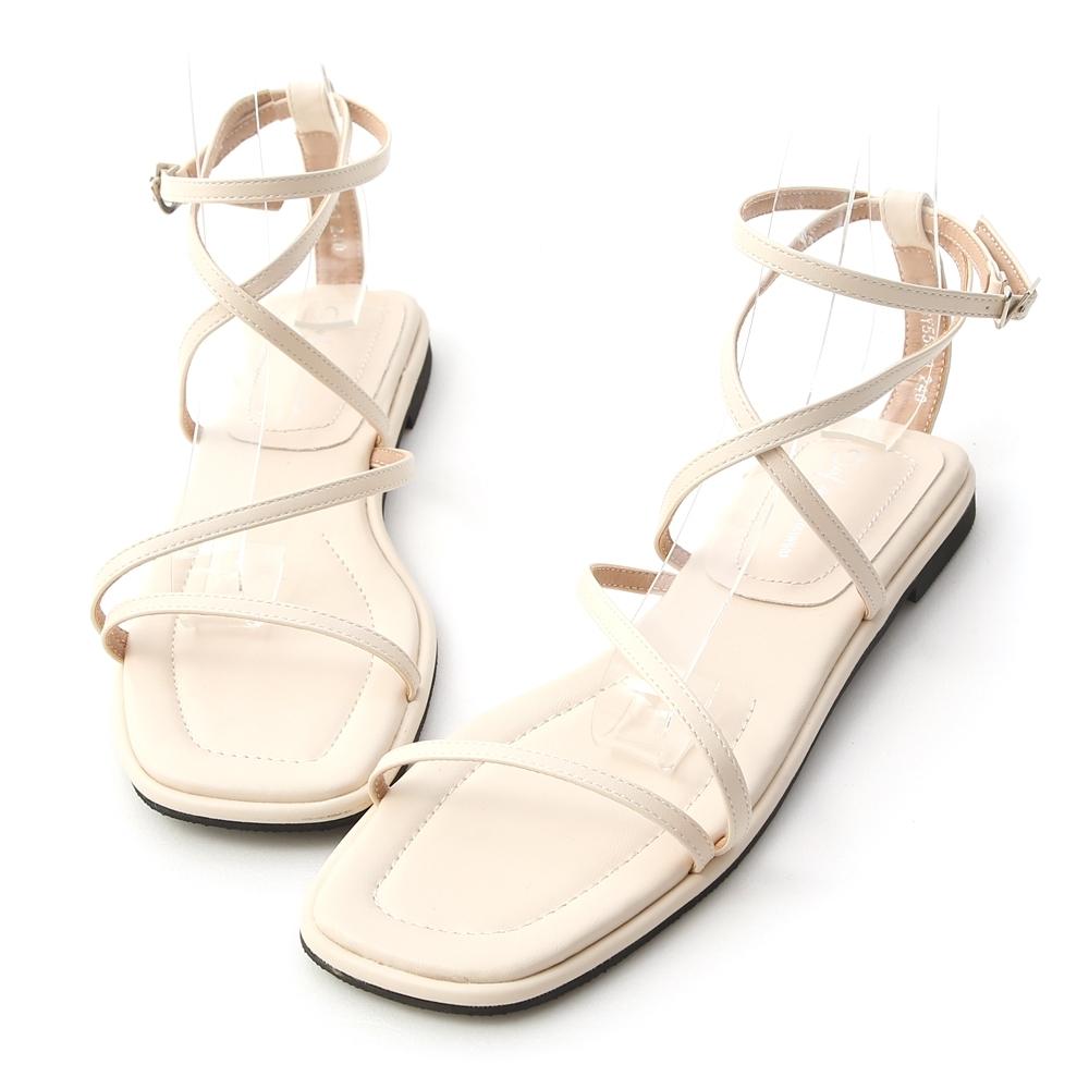 D+AF 自信步調.層次感交叉平底涼鞋*白