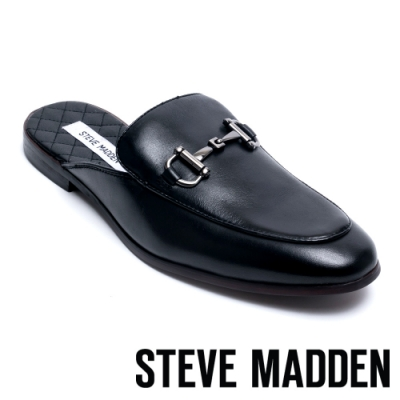 STEVE MADDEN-DAZZLING 男士雅痞馬銜扣穆勒鞋-黑色