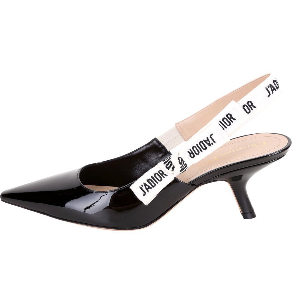 Dior J'ADIOR 字母織帶漆亮牛皮蝴蝶結跟鞋(38.5號/黑色)