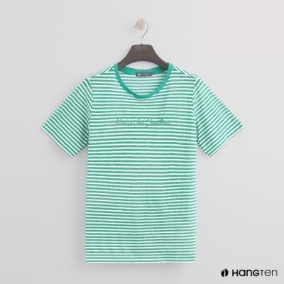 Hang Ten -女裝 - 糖果配色橫條紋短T - 綠