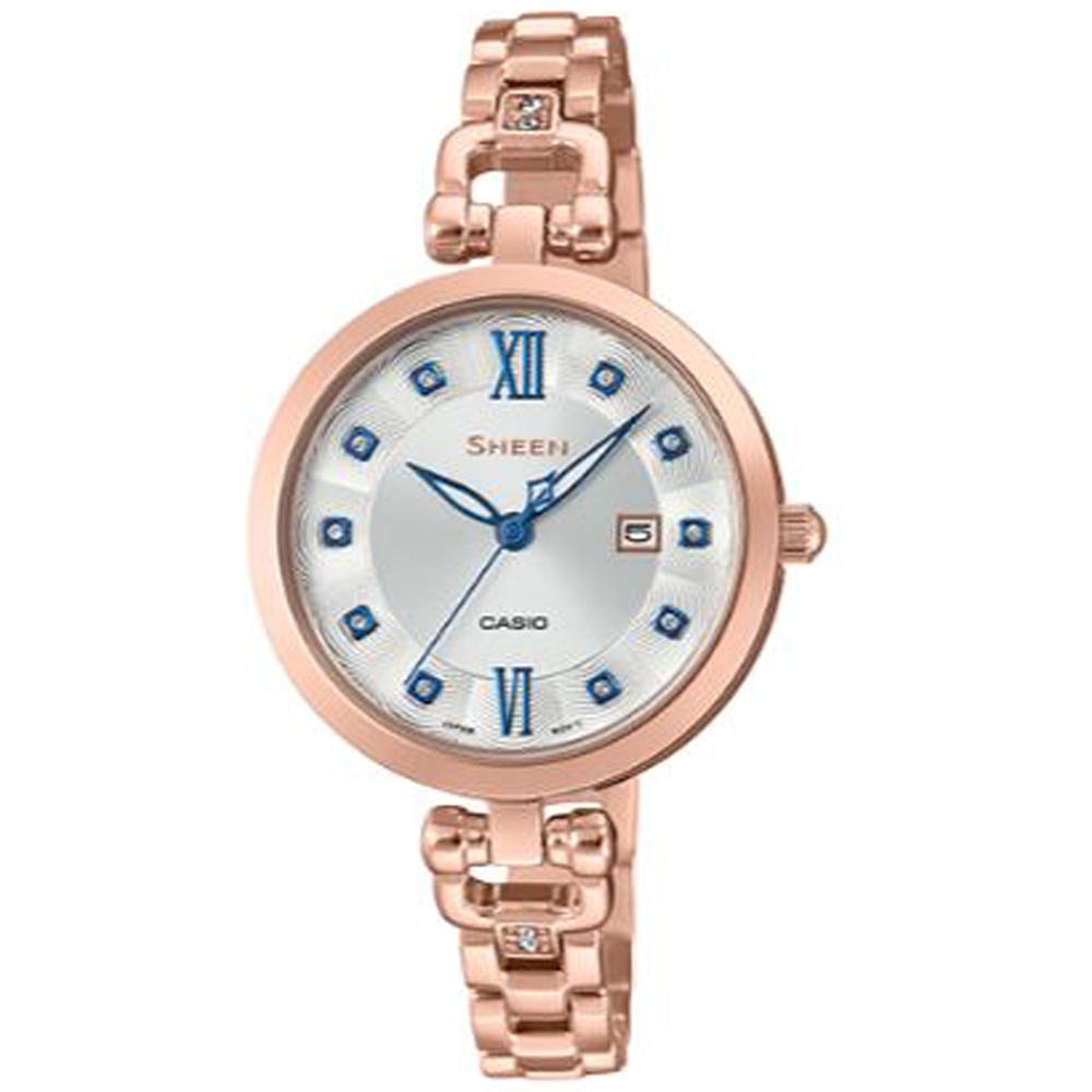 SHEEN 細緻婉約水晶點綴蜜桃金藍針不鏽鋼腕錶(SHE-4055PG-7)白面/37mm @ Y!購物