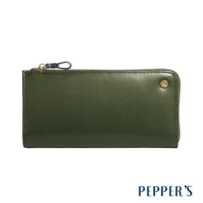 PEPPER S Raven 牛皮撞色拉鍊長夾 - 橄欖綠