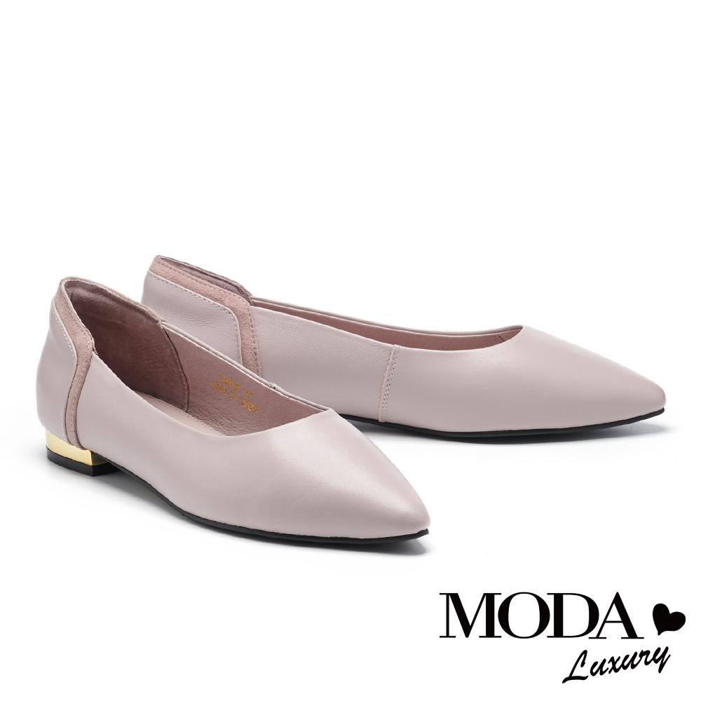 低跟鞋 MODA Luxury 簡約日常質感異材質尖頭低跟鞋-紫