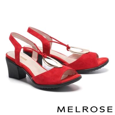 涼鞋 MELROSE 時髦迷人金屬圓釦設計高跟涼鞋-紅