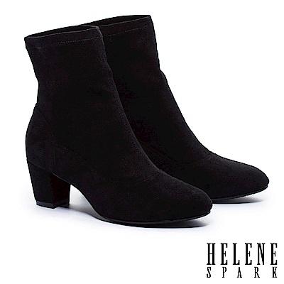 短靴 HELENE SPARK 經典簡約時尚質感麂布粗高跟短靴-黑