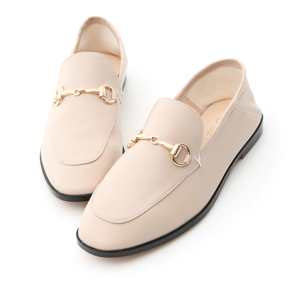 D+AF 上質品味.馬銜釦後踩式二穿紳士便鞋*粉杏