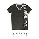 INTIMATUS 素色V領印字 短袖T恤 墨綠色
