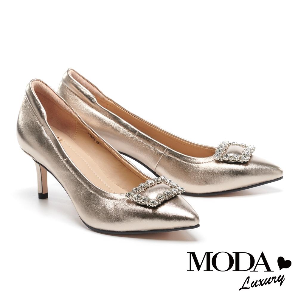 高跟鞋 MODA Luxury 奢華閃耀水鑽造型釦全真皮尖頭高跟鞋-金
