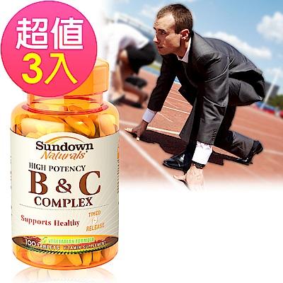 Sundown日落恩賜 高單位緩釋型B群+C(B12強化配方)x3瓶(100錠/瓶)