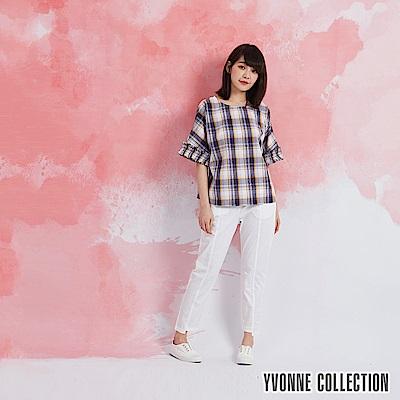 YVONNE 黃紫格紋車縐袖上衣