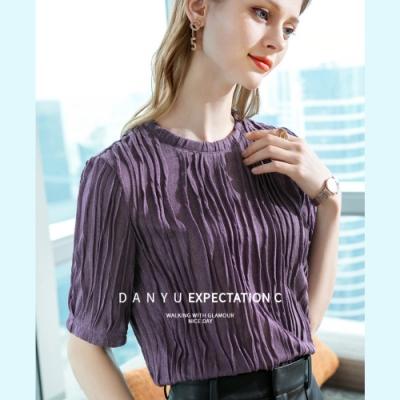 專注內搭-五分袖T恤圓領條紋褶皺設計感中袖上衣(三色S-2XL可選)