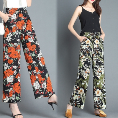 【韓國K.W.】(預購) 夏日風尚印花顯瘦寬褲