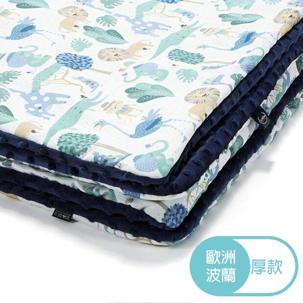 La Millou 暖膚豆豆毯(加大款)-動物探險隊(藍底)-勇氣海軍藍