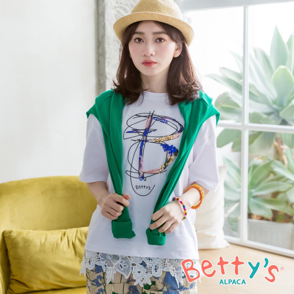 betty's貝蒂思 質感字母刺繡亮片寬鬆T-shirt(白色) @ Y!購物