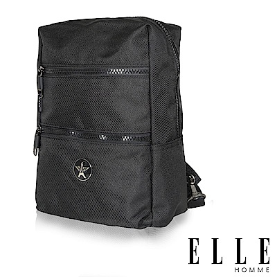 福利品 ELLE 巴黎輕旅商務雙層拉鍊單肩側背包-黑色