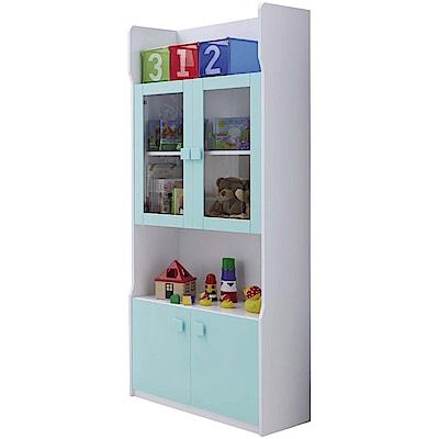 文創集 柯利森時尚2.7尺雙色開門書櫃/收納櫃-81x38x182cm免組