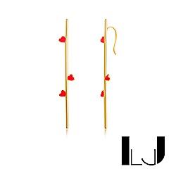 Little Joys 旅美原創設計品牌 手工平衡骨小巧愛心耳掛 925銀鍍金