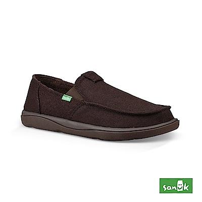 SANUK VAGABOND 內刷毛寬版帆布懶人鞋-男款(深咖啡色)