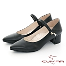 【CUMAR】極簡生活尖頭珍珠裝飾瑪莉珍兩穿式粗跟鞋-黑