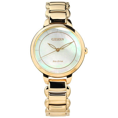 CITIZEN 光動能 藍寶石水晶玻璃 白蝶貝 日期 不鏽鋼手錶-銀綠x鍍香檳金/31mm