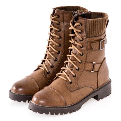 JMS-街頭風拼接扣環綁帶馬汀軍裝感中靴-棕色