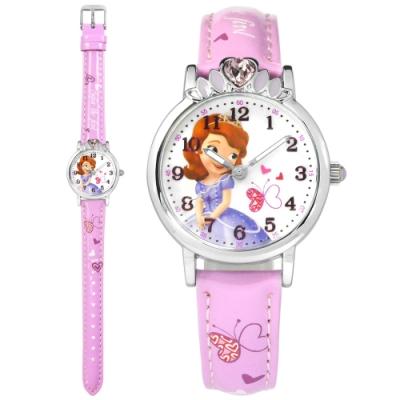 Disney 迪士尼 小公主蘇菲亞 愛心寶石 兒童卡通 亮面皮革手錶-白x紫/30mm