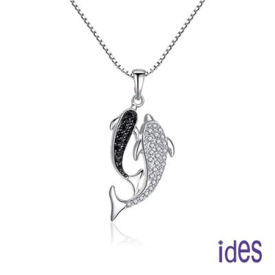 ides愛蒂思 日韓時尚設計純銀晶鑽項鍊/海豚之戀