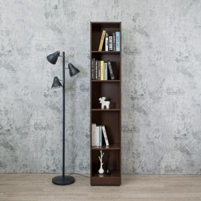 Birdie南亞塑鋼-1.2尺開放式5格書櫃/五格隙縫收納櫃/展示櫃/置物櫃(胡桃色)-37.1x31x200cm