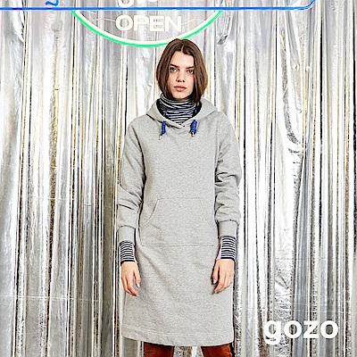gozo 格紋帽裏長版棉質洋裝(二色)