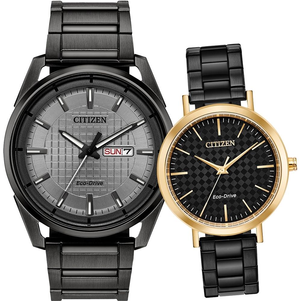 CITIZEN 星辰 光動能情侶手錶 對錶-黑(AW0087-58H+EM0768-54E)
